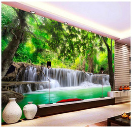 Wholesale paper roll backdrop - 3D photo wallpaper custom 3d wall murals wallpaper 3D HD Forest River Waterfall Backdrop Decorative Painting wall paper living room decor