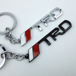 Wholesale Toyota Camry Badges - 3D Metal TRD logo Keychain Badge Emblem Keyring For Toyota corolla RAV4 Camry TRD Racing Car Styling Key Ring Holder