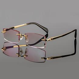 2019 diamante sem aro Atacado- 2015 Phantom aparar titânio eyewear masculino diamante modelo de acabamento de ouro sem aro acabado prescrição glassses para homens diamante sem aro barato