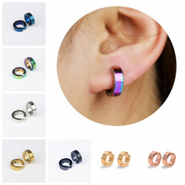 Wholesale Wholesale Earring Stud Backings - Unisex Stainless Steel Fake Piercing Earrings Stud Cuff Hoop Non-Piercing Clip-On Earrings Punk Dilataciones Falsas Piercing