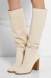 Botas altas de botas bege on-line-2017 mulheres botas de cor bege branco joelho botas altas design de salto robusto elegante sapatos de festa mulheres alto gladiador botas