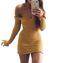 Wholesale Long Green Sweater Dress - Women Sexy Dress Fashion Long Sleeve Off Shoulder Club Slim Bodycon Knitted Sweater Mini Casual Night Dresses Gray Black Red