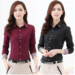 Wholesale Women Career Wear - Europe Russia spring autumn women Career wear Office blouse tops Shirt Long Sleeve red white Korean lady Slim Cotton Blend Formal Workwear
