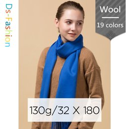 Wholesale White Rings Blanks - New Designer Plain Wool Scarfs Women Neck Warmer Ladies Blank Big Long Scarves Yellow 20 Solid Color Cashmere Scarf Gift For Sale