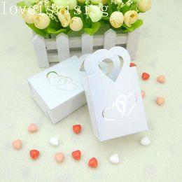 Wholesale Sweet Love Favor Box - 100pcs lot white Back colors Creative Sweets Love heart Candy Box Wedding Favor boxes Packaging Box souvenirs