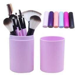 Wholesale Cylinder Makeup Brush Holder - 12 PCS Makeup Brush Set+Cup Holder Professional 12 pcs Makeup Brushes Set Cosmetic Brushes With Cylinder Cup Holder