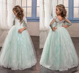Wholesale Christmas Ball Opens - 2017 Romantic Mint Green Flower Girl Dress for Weddings Tulle with Lace Open Back Ball Gown first communion pageant dresses for girls