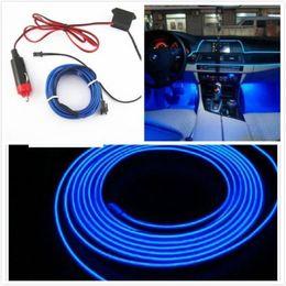 Wholesale Interior Door Lights - Blue Car Interior Trim Door Panel Decorative Atmosphere Cold Light Lamp Strip 2M