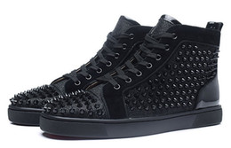 Wholesale Red Studded Shoes - High Top Studded Spikes Orlato Men's Flat Casual Red Bottom Luxury Shoes New For Men Women Party Designer Sneakers Lovers