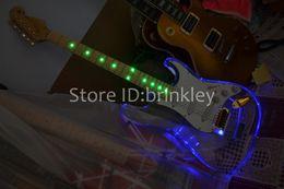 Wholesale Guitar Led - Free shipping custom new Acrylic body electric guitar st electric guitar with blue LED guitar in china