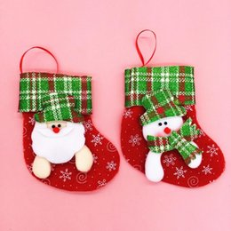 Wholesale Bear Christmas Stocking - 50Pcs  Lot Mini 16*12Cm Santa Socks X 'Mas Bear Deer Snowman Style Candy Holders Christmas Party Banquet Gifts Packages Hx 448