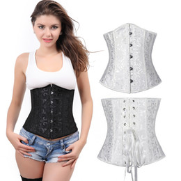 Wholesale Hot Woman Sexy Animals - Hot Sale Black White Underbust Corset Sexy Women Body Shaper Lace Up Corselet Print Corsets Bustiers Gothic Wedding Lingerie