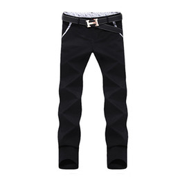 Wholesale Korean Fashion Hot Pants - Wholesale-2016 Hot Selling Men Pant Fashion Korean Style Slim Fit Mens Khaki Pants Designer Mid-Rise Casual Men Chinos Trousers