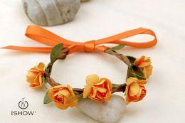 Wholesale Flower Girl Bangles - Beach Wedding flower fashion bangle & bracelets for Bride wholesale infinity bracelet mixed color foal rose velvet ribbon handband