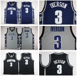Wholesale Embroidery Sports Jerseys - High Quality Retro #3 Allen Iverson Sport Jersey Throwback Jerseys Embroidery Logo Mesh Black White Shirt Georgetown Hoyas