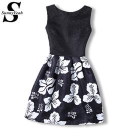 Wholesale Designer Sundresses Dresses - Wholesale- New Arrival 2017 Summer Dress Women Sundress Vintage Black Red Print Korean Designer Party Casual Dress Ethnic Vestido De Festa