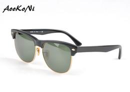 Wholesale Eyeglasses Frame Men Rimless - AOOKO High Quality Oversized UVA UVB Sunglasses Men's Womens Brand Designer Sunglasses Vintage club Personality Eyeglasses G15 with box 60mm