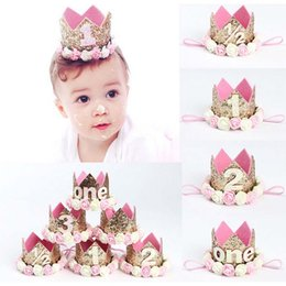 Wholesale Hair Band Crown Girls - Baby Bling Crown New Boutique 48 Colors Headband Girls Hair Accessories With Rose Flower Head Bands For Birthday Gift Photograph