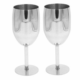 Wholesale Metal Wine Stand - Fashion 2pcs set 304 Stainless Steel Standing Cup Red Wine Juice Beer Advanced Metal Glass Goblet Anti-broken Bar Party Drinking Ware Cup