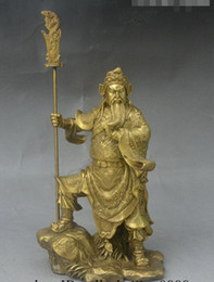 "Wholesale Antique Japanese Swords - 11"" China Brass Stand Stone Warrior God GuanGong GuanYu Hold Dragon Sword Statue"