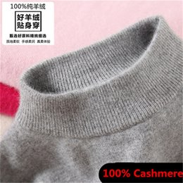 Wholesale Flat Knit Collar - Wholesale- Pure Cashmere Fashion Womem's Sweaters Semi-high Collar Female Knitted Cashmere Sweater Loose Pullover Women Turtleneck Sweater