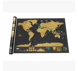 Wholesale Vintage Fiber Art - Vintage Deluxe Scratch Map World Map 82.5 x 59.5cm Luxury Home Decor World Map Wallpaper Wall Stickers Art Stickers Toys Gifts