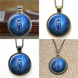 Wholesale Wholesale Travel Jewelry Box - 10pcs Dr Who Tardis Jewelry Box Time Travel Glass Photo Necklace keyring bookmark cufflink earring bracelet