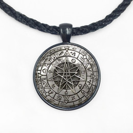 Wholesale Wicca Charms - Wholesale Glass Dome Zodiac Wicca Pendant Necklace Pentagram Wiccan Jewelry Charm