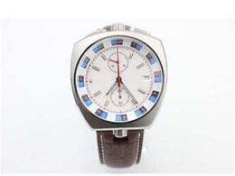 Wholesale Bullhead Brand - Free Shipping Fashion Brand White Dial Brown Leather Belt Quartz Master Co-Axial Chronometer Bullhead Platinum Skeleton Analog Male Watches