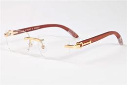 Wholesale Wood Eye Frames - free shipping 2017 brand sunglasses for men women gold silver metal black clear lens wood frame buffalo horn glasses lunettes de soleil