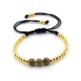 Wholesale Beads Bracelet Mens Black - Free shipping New Famous Braided Macrame Bracelets Charm Mens Womens Bangles Pave Setting Black CZ Beads