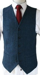 Wholesale Royal Blue Waistcoat - 2017 Wool Herringbone Tweed Vest Royal Blue Mens Suit Vests Vintage Groom Vests British Style Mens Dress Vests Slim Fit Wedding Waistcoat