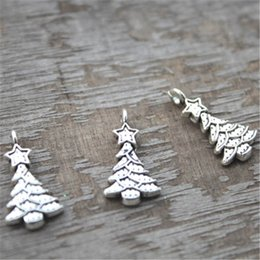 Wholesale Antique Christmas Tree - 35pcs--Christmas Tree Charms, Antique Tibetan Silver Tone Christmas Tree with star charm pendants 21x11mm