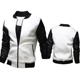 Wholesale Mens Leather Top Coat - Wholesale- Hot Sale Men Jacket Patchwork Mens Jackets PU Leather Jacket For Man Coat Fashion Design Top Quality men Casual Coat