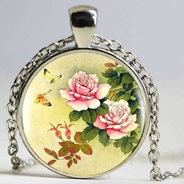 Wholesale Culture Heart - Chinese Peony Heartshaped Pendant Chinese Culture Necklace Bronze Vintage Necklace For Women Men Lover Jewelry