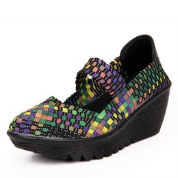 Wholesale Wedge Mary Jane Shoes - New 2016 Handmade Knit Woven Women's Shoes Wedges Heel Plaid Mary Jane Shoes Women Casual Platform Dance Shoe N186