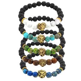 Brazaletes de cabeza de león online-10 estilos Lion Head Bracelet Buddha Beads Chakras Bangles Charm Lava Rock Piedra Elástico Yoga Pulsera Hombres Joyería Mejor Vendedor Preferido B331S