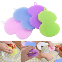 Wholesale Toilet Cleaning Accessories - House Cleaning Brushes Soft Silicone Bowl Scrubber Cleaner Pan Dish Clean Brush tools colorful Multifunction Kitchen Accessories