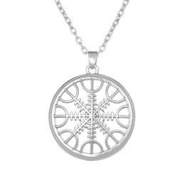 Wholesale Wholesale Nautical - The Helm of Awe Aegishjalmur Mammen Style Slavic Scandinavian Norse Viking Jewelry Nautical Silver Pated Necklace