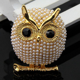 Wholesale cute girl china - 2017 Hot sale New arrive Lovely simulated pearl owl brooches for girl women animal cute pins for party jewelry broche 170749