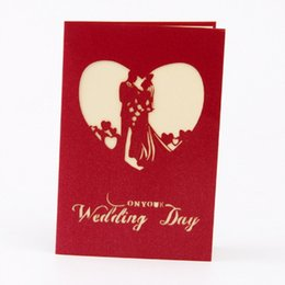 Wholesale Wholesale Handmade Wedding Invitation Cards - 3D Wedding Invitations Cards with Envelope Hollow Red Palace Paper Folded Bride Accessories Manual Handmade Card Decoration Greeting