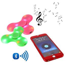 Wholesale Newest Toy Led - Newest LED Fidget Spinner with Bluetooth Speaker Handspinner LED Rainbow Light Luminous Hand Spinner Fidget Finger Toys Bluetooth Spinners