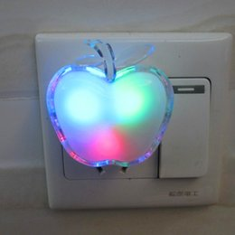 Wholesale Apple Wall Lamp - Wholesale- Night Light With Switch EU Plug Apple Shape Kids Lamp Multicolor 220v LED Wall Light Bulb Children Bedroom Energy Saving Light