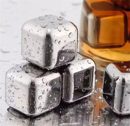 Wholesale Stone Ice Cube Rocks - 60pcs Stainless Steel Ice Cube Wine Whiskey Beer Cooler Stones Rock Soapstone Glacier Rock Beer Freezer Chillers Drink Cooler Cube G098