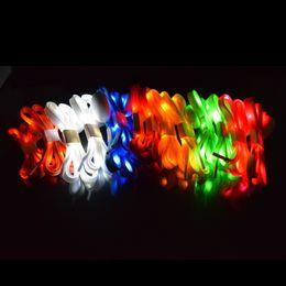 2019 schnürsenkel LED-Blitz-Schuh-Spitze-Schuh-Zeichenketten 110 * 0.8cm lumineux Schnürsenkel leuchten Glühen-Bügel-Mehrfarben-Nylon-Party-Skating reizend lacet JF-656 günstig schnürsenkel