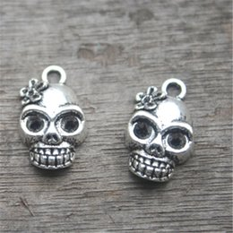 Wholesale Day Dead Skulls - 15pcs--Skull Charms Antique Tibetan Silver Tone Day of the Dead charm pendants,Skull head with flower charms 21x13mm