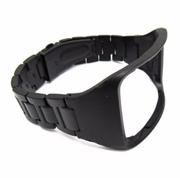 Wholesale Gear Watches - Black Stainless Steel Replacement Bracelet Wristband For Samsung Galaxy Gear S SM-R750 Watch Band Strap