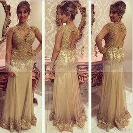 Wholesale Green Ladies Sequin Dresses - 2017 Gold Lace Mermaid Ladies Evening Dresses High Neck Formal Dress Women Arabic Embroidery Kaftan Abendkleider Long Backless Party Gowns