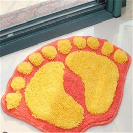 Wholesale cartoon foot orange Washable wine New Thick plush fabric Carpet Shaggy Rugs Bathmat room Colours for living bed room anti slip
