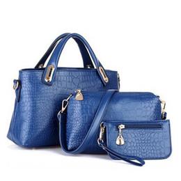 Wholesale Alligator Purses Handbags - New Arrival 3pcs Set Women Totes Bags Fashion Classic Alligator PU Leather Designer Handbags Lady's Shoulder Bags And Purse